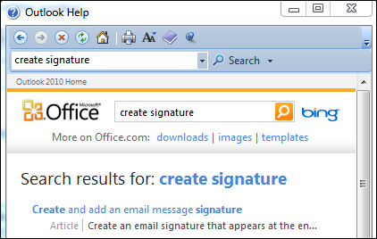 microsoft outlook help search