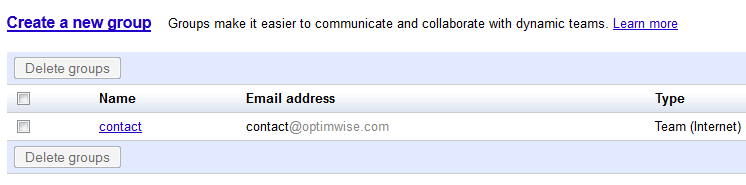 google apps group for email distribution list