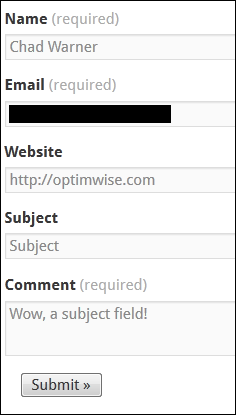 Jetpack contact form subject field