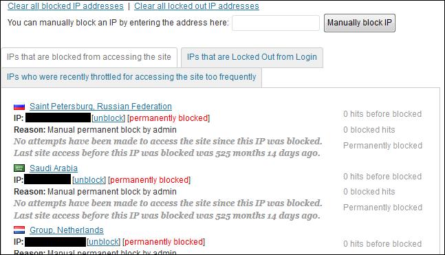 Wordfence Security Blocked IPs