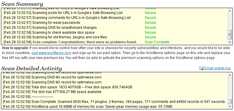 Wordfence Security Scan Summary and Scan Detailed Activity