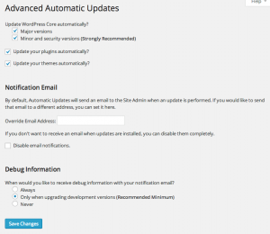 Advanced Automatic Updates settings