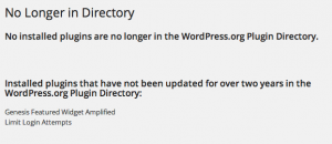 No Longer in Directory WordPress plugin results