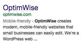 Mobile-friendly label Google search