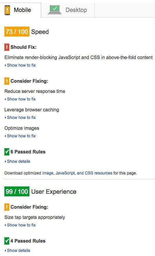PageSpeed Insights Mobile tab