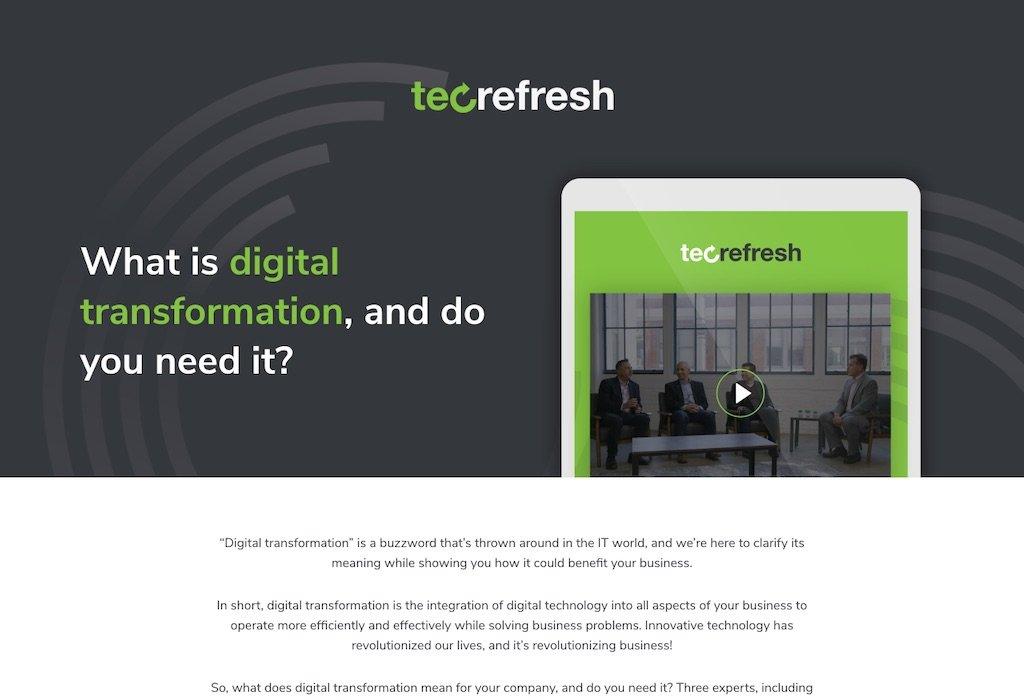 Tec-Refresh Digital Transformation landing page OptimWise