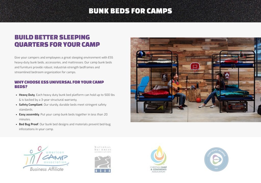 ESS Universal camps landing page